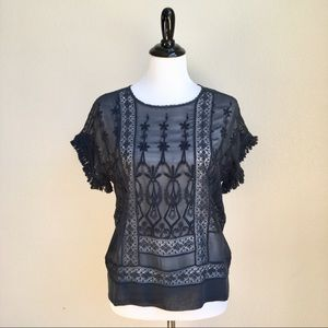 Ulla Johnson Sheer Embroidered Top Silk Fringe